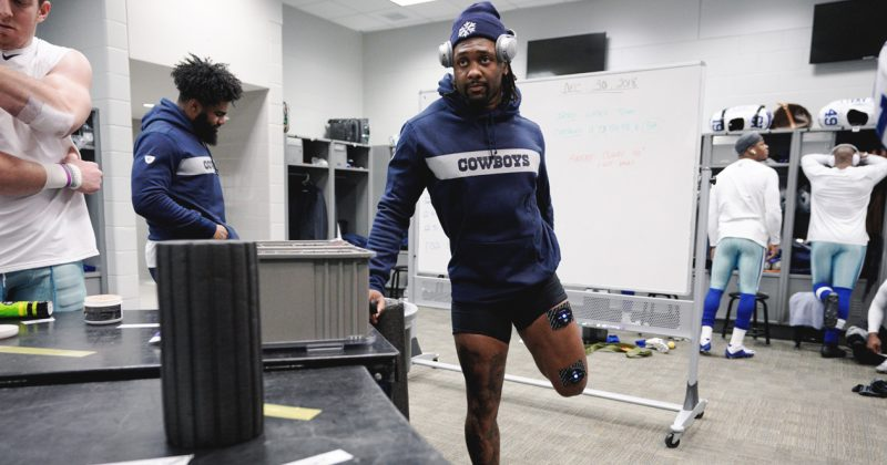football-player-kavon-frazier-muscle-stimulator